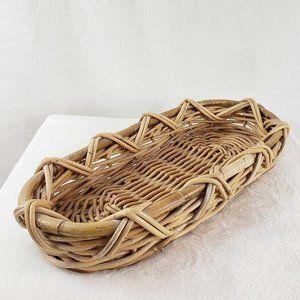 Large vintage basket woven tray tabletop storage
